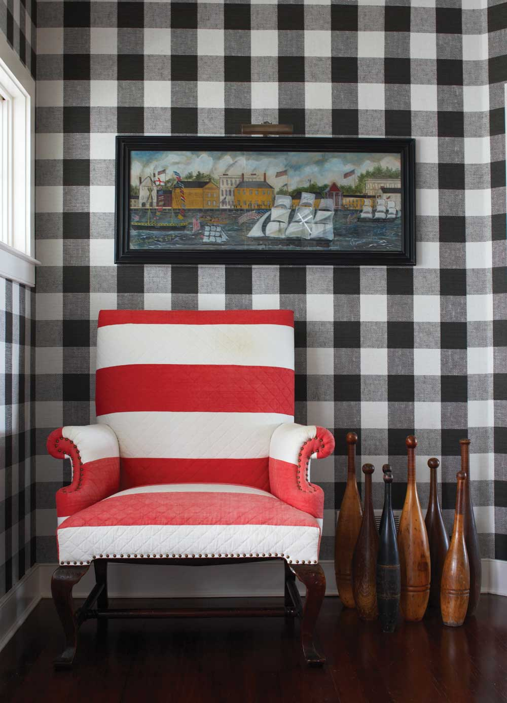 new england home mag cococozy vichy gingham black white wall ...